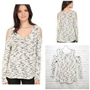 LNA cream marled  cold shoulder sweater small